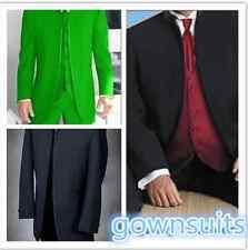 CUSTOM MADE men wedding suit black mandarin collar men jacket pants +waistcoat
