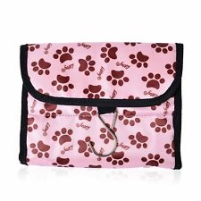 STORAGE BAG TRAVEL SHOWER JEWELRY BAG WITH HANGER HOOK PAW PRINT ANIMAL PINK