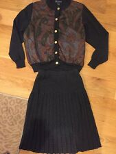 Vintage Burberry Gray Wool Sweater and Pleated Skirt Set Size Small