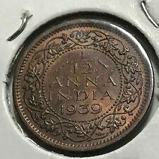 1939 BRITISH INDIA 1/12 ANNA HIGH GRADE BRONZE COIN