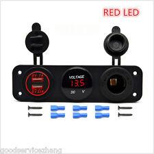 3Hole Panel+Dual USB Socket+Voltmeter Meter+Power Socket CarVan Boat RED LED 12V