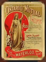 """ONTARIO MUTUAL LIFE ASSURANCE 16"""" HEAVY DUTY USA MADE METAL ADVERTISING SIGN"""