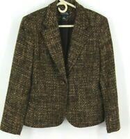 Jones New York Signature Women's 14 Blazer Jacket Brown Tweed Long Sleeved