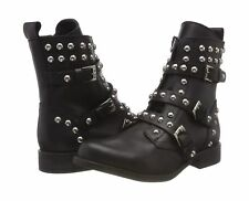 Steve Madden Women's Studded Spunky Biker Boots Black Leather Size 7.5M EURO 38