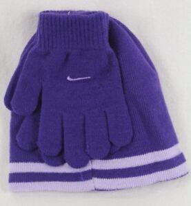 Nike Niños Swoosh Gorro Guantes 2PC Set Violeta Reversible Talla 8/20 Nwt