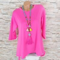 MADE IN ITALY Long Tunika Longshirt Zipfel Saum Blogger neon-pink 36 38 40 42
