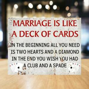 Marriage Cards Pub SIGN METAL WALL PLAQUE humorous kitchen bar cafe man cave
