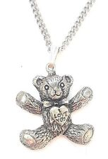 I Love You Teddy Pendant Handcrafted in Solid Pewter In The UK + Free Gift Box
