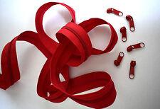 (0,60€/m) 3m Endlos Reißverschluss Meterware 5mm Spirale inkl.6 Zipper Rot