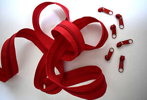 (1,00€/m) 1m Endlos Reißverschluss Meterware 5mm Spirale inkl.2 Zipper Rot