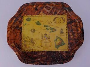 LIL GRASS SHACK METAL11x13 SERVING TRAY THE SANDWICH ISLES 1856 MAP COORDINATES
