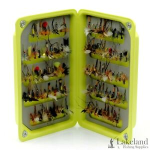 EVA Foam Fly Box + Mixed Assorted Dry Trout Fishing Flies Size 8 10 12 14 16 18