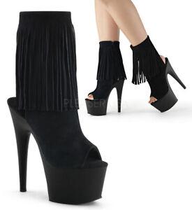 "Pleaser black suede 7"" ankle high open toe fringe boots"