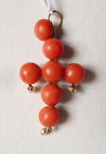 Croix pendentif en OR massif 18k + corail bijou ancien coral gold cross
