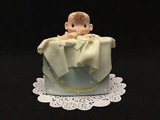 Cold Porcelain Baby Boy Cake Topper Diaper Cupcake Decoration Favors Blue