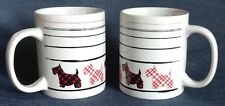 Set of 2 ~ White Coffee Mugs with Scottish Terriers in Red, White and Black