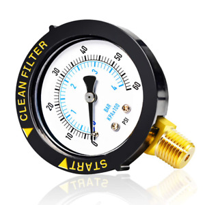 """MEANLIN MEASURE 0~60Psi Plastic Frame 1/4"""" NPT Start and Clean Filter Pressure G"""