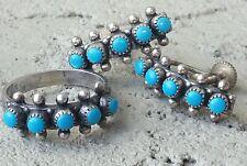 Vintage Sterling Silver Turquoise Snake Eye Earrings Ring Set Estate Jewelry