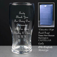 Personalised Tulip Pint Glass, Wedding Favour, Bridesmaid / Maid of Honour Gift