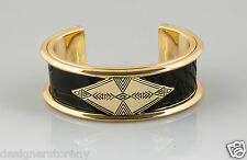 House of Harlow 1960 Nicole Richie Serene Station Cuff Bracelet in Black/Gold