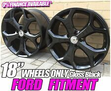"18"" BLACK SNOWFLAKE Gloss BLACK ALLOY WHEELS FITS FORD FOCUS RS ST"