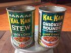 Vintage (2) Original KAL KAN DOG & CAT Pet Food Tin Can - STEW & Chicken Rounds