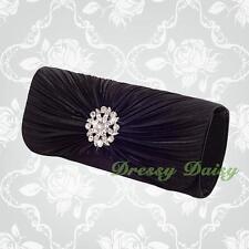 Diamante Satin Pleats Evening Flap Clutch Hand Bag Purse Wedding Bridal Party 17