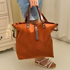 Genuine Leather Waxed Canvas Handbag Tote Purse with Handles and Shoulder Strap