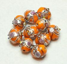 10 INDIAN FANCY LAMPWORK BEADS 10 X 13mm OVAL ORANGE (BBB519)