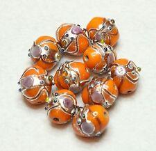 10 Indian Fancy Lampwork Beads 10 x 13 mm ovale orange (BBB519)
