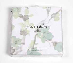 Tahari Home Printemps Fabric Shower Curtain Green Blue Green White Floral NEW