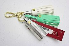 Merona White Silver Turquoise Leather Tassel Keychain Purse or Backpack Charm