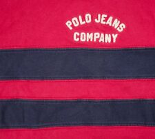 Polo Jeans Co. Ralph Lauren Premium Large T Shirt Embroidered Logo Sewn Stripes