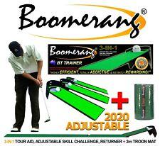 2020 ADJUSTABLE BOOMERANG GOLF PUTTING AID, Skill Test, Ball Return & Troon Mat