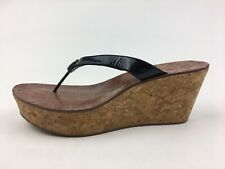 Tory Burch Thora Cork Wedge Logo Sandals Women's Size 9.5 M, Black Patent 2616