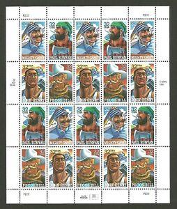 American Folk Heroes #3083 Casey Bunyan Henry Pecos USPS 32 Cent US Stamp Sheet