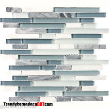 10-Sf Blue White Marble Glass Mosaic Tile kitchen backsplash wall bathroom sink