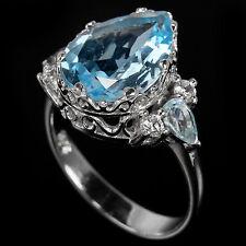 Sterling Silver 925 Elegant Genuine Natural Blue Topaz Ring Size S (US 9.25)