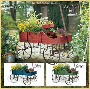 Wooden Garden Flower Planter Wagon Wheel Plant Bed Garden Yard Outdoor Art Decor