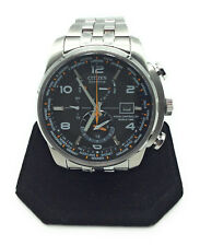 Citizen Eco-Drive Men's Silvertone And Black World Time A-T Watch  AT9010-52E