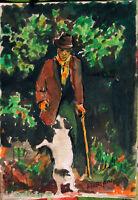 ✅Acquerello '900 su carta-Vecchietto con bastone e cane - firmato A.Bergamo (20)