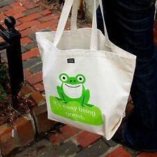 Green Frog Shopping Tote Bag Heavy Cotton Eco-Friendly Fun Reusable Made in USA