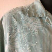 Tommy Bahama Hawaiian Camp Shirt Silk Hibiscus Bamboo Striped Aqua Men's M