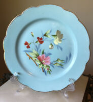 19th Century ~ Antique Hand Painted Floral Plate ~ Sky Blue  Marked ~ B.S. C & M