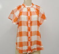 Anthropologie Size Small Maeve Flutter Sleeve Gingham Top Orange White Shirt