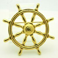 Large Ships Wheel Gold Tone Nautical Vintage Pin Brooch