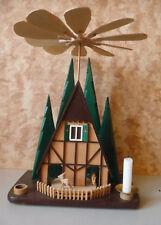 Weihnachtspyramide Haus Tannen Rehe modern / Volkskunst Erzgebirge