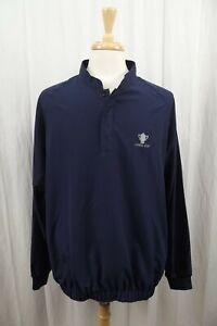 Footjoy Mens Half Snap Button Pullover Golf Jacket Large Coat Navy Blue