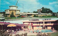 CASTLE MOTEL MOTOR HOTEL BEAUMONT TEXAS OLD CARS PRETTY SWIMSUIT POOL POSTCARD