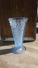 Vintage Blue Glass Vase Diamond Cut
